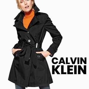 Calvin Klein black water resistant mid weight trench coat size Large